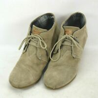 Toms Desert Suede Leather Wedge Ankle Booties Womens Size 9.5 US Tan 380513