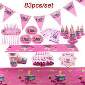 83Pcs 1st Birthday Theme  Disposable Tableware Sets Birthday Party Supplies Kids