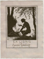 1910s Austrian  EX LIBRIS nude silhouette, Art Nouveau