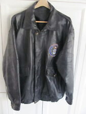 MEN'S BLACK PATCH WORK LEATHER JACKET AIR FORCE MILITARY COAT SIZE 2XL XXL