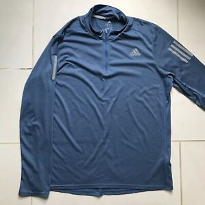 Adidas Climalite Blue Men's Running Jacket w. Reflective Stripes (Large)