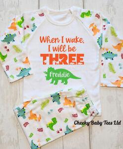 Personalised dinosaur pyjamas,When I wake I will be any age,Birthday Pyjamas Pjs