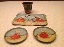Vintage Tin Litho Tea Set Sun Bonnet Girls Germany Tray Plates Cup 4 Pieces