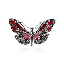 Sterling Silver Marcasite & Vibrant Red Enamel Butterfly Brooch