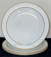"3 Corning CENTURA TULIPS WHITE W/GOLD *7 1/4"" SALAD PLATES*"