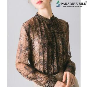 Women Silk Blouse 100% Natural Silk Leopard Print Fashion Long Sleeve Shirt
