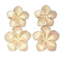 14KT. Gold Hawaiian Plumeria Flower Dangle Earrings