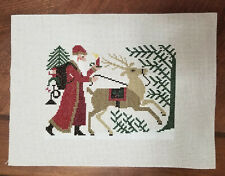 finished completed cross stitch prairie schooler santa woodland 96