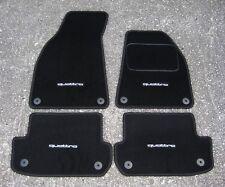 Car Mats in Black to fit Audi A4 Cabriolet (B6+B7 2001-08) + Quattro Logos (x4)