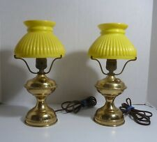 Pair Vintage Hurricane Style Boudoir Table Lamps with Matching Glass Shades