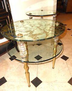 GORGEOUS DOUBLE GLASS FLORENTINE DOROTHY DRAPER END TABLES LUCITE/BRASS LEGS
