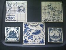 Lot of 5 Royal Goedewaagen Blue Delft Holland Ceramic ROTTERDAM Tile NEW! #1