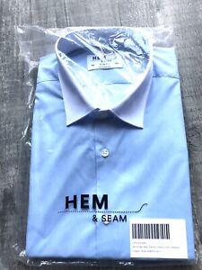 "BNWT Mens Hem & Seam Slim Fit Contrast Colour Blue Smart Shirt 16.5"" Collar"