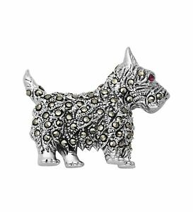 Scotty Terrier Dog Brooch Pin Sterling Silver 925 Marcasite Vintage Inspired
