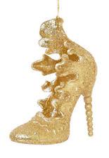 3 x 3D oro tacco alto scarpa da appendere decorazioni palline albero di Natale Decorazione