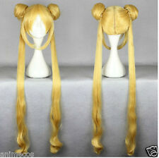 Sailor Moon Tsukino Usagi Cosplay Party wig Mixed golden +Free wig cap