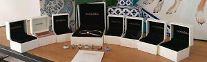 Ladies Pandora, bracelet, 8 charms, boxes and bags