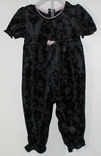HOLIDAY JOY Size 6-12 Months Girls Black Velour Floral Jumpsuit (Made in Canada)