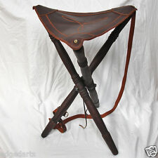 Traditional Wood & Leather Folding Stool.Made in Spain–Bushcraft-Camping-picnics