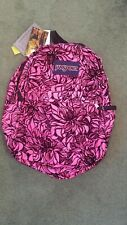 New Jansport Pink Black Velvet Floral Print Back pack