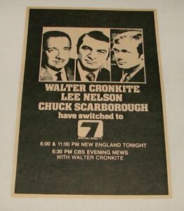 1972 WNAC Boston tv ad ~ WALTER CRONKITE, LEE NELSON, CHUCK SCARBOROUGH