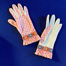 Vtg Miss Aris Country Style Cloth Gloves Sz. L