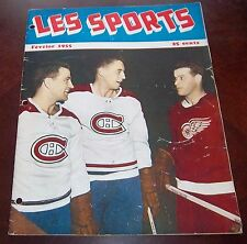 Les Sport February 1955 Jean Beliveau / Bernie Geoffrion / Gordie Howe