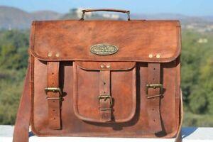 Vintage Laptop Shoulder Briefcase Messenger Bag convertible Satchel Men Leather