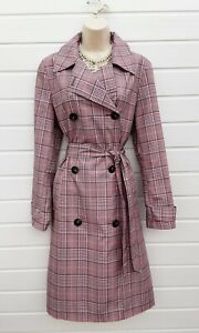 MARKS /& SPENCER Womens Winter Coat Pink Grey Ivory Pastel Check Warm RRP £65