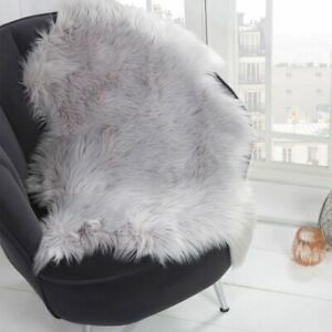 Sienna Faux Fur Sheepskin Rug 60 x 90cm - white, pink or silver grey