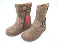 GARVALIN GIRLS SHOES BOOTS ZIP UP BUCKLE STRAP LEATHER SPAIN BROWN SIZE 25