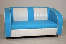 Sofabank Belvedere Einzelsofa Polstersofa American Diner 50er Jahre Blau Weiß