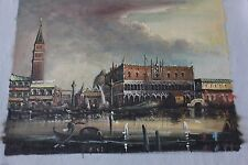 Vintage Antique Signed Venetian Hand Painted Scenic Oil Painting