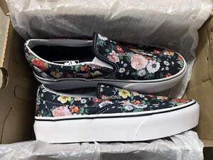 NIB vans black floral print platform slip-on sneaker size 6.5