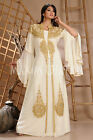 Australian Stylist Golden Hand Made Embroidery Dubai Party Wear Kaftan 3124