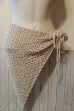 Beige tan lacey boho beach sarong swim wrap cover up crochet womans handmade
