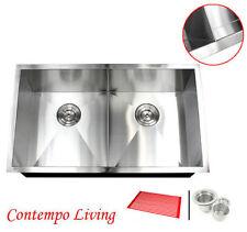 """32"""" Undermount Zero Radius Double Bowl Stainless Steel Sink SlimDivider 16G Sink"""