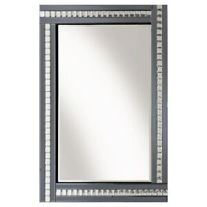 Modern Art Deco Acrylic Crystal Glass Bevelled Wall Mirror 60x80cm Smoked Grey