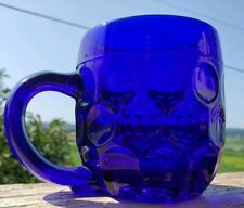 Vintage Cobalt Blue Glass Thumbprint Mug Coffee Tea Arcopal France