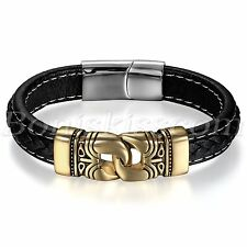Men Retro Totem Stainless Steel Leather Magnetic Buckle Bracelet Black Gold Tone