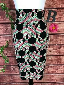 LuLaRoe Skirt Minnie Mouse Disney Extra Small Straight Pencil Knee Green Red
