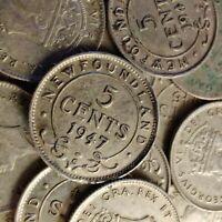 Newfoundland 5 Cents (George VI) 1944-1947 Silver