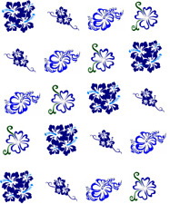 Dark Blue Hibiscus  Waterslide Nail Decals/Nail art