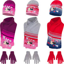 Boys Girls Kids Official Disney Minnie Mouse Winter Hat, Gloves And Scarf Sets