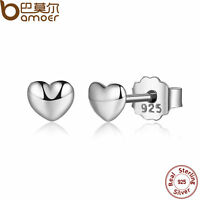 Bamoer Luxury S925 Sterling Silver Petite Heart Stud Earrings For Women Jewelry