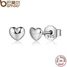 Bamoer Luxury S925 Sterling Silver Petite Heart Stud Earrings For Women Jewelry
