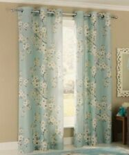 """100% Cotton Floral Blossom Lined Eyelet Curtains 66x90"""" 168x229cm Duck Egg"""