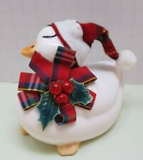 Vintage Artistic Gifts Ceramic Christmas  Duck With Tartan Hat, Bow & Holly