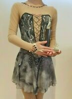 Custom Designed figure ice skating competition dress girls- Gray