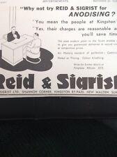 58101 1937 Ephemera Advert Reid And Sigrist New Malden Surrey Anodising